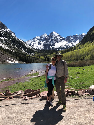 With my husband Pat at Maroon Bells in Colorado (one of our favorite spots)
